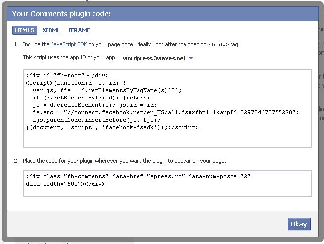 facebook comments plugin - get code