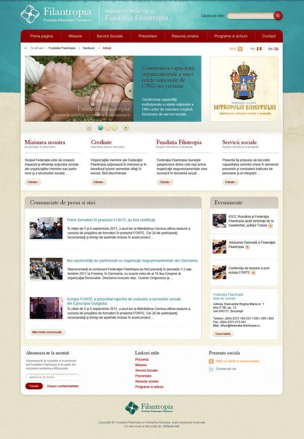 Site web pentru ONG: Fundaţia Filantropia Timişoara