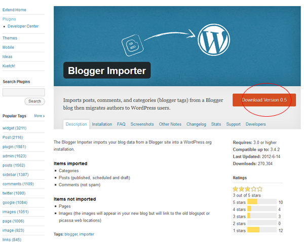 Download Blogger Importer Plugin