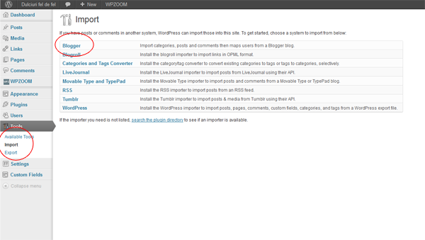 Import categories, posts and comments then maps users from a Blogger blog.